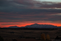 The last glow of the sunset behind Pikes Peak Colorado