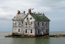 The last house on Holland Island in Chesapeake Bay Maryland before it collapsed into the sea