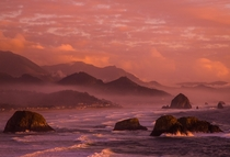 The last Kiss of Daylight - Cannon Beach Oregon By Dezzouk