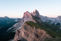 The last light catching the top of Seceda