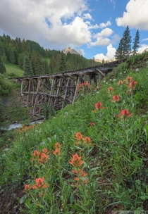 The last remaining railroad bridge of the Rio Grande Southern Railroad System near Telluride CO