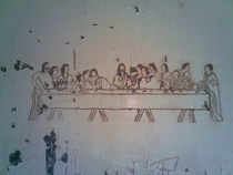 The Last Supper carved into the paint on a metal door in an abandoned jail circa s - I took the photograph before renovation