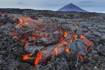 The lava flow Tolbachik Mountain Kamchatka Peninsula Russia  by