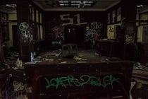 The library of a vacant high school founded in  Flint MI