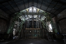 The lift house inside a coal mining facility in the Northern part of the UK