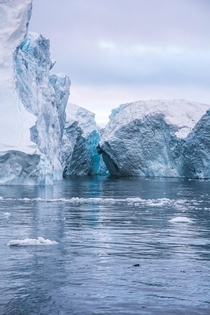 The light between icebergs can be beautiful in Ilulissat Greenland
