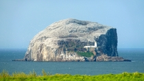 The lighthouse and the remains of the castle on Bass Rock in the outer part of the Firth of Forth Scotland The island plays host to more than  Gannets and is the largest single rock gannetry on Earth described by David Attenborough as one of the wildlife