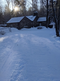 The lodge where I work on a ski resort was looking great the other morning after some fresh snow