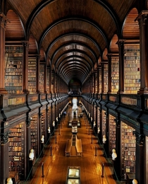 The Long Room Library at Trinity College in Dublin Ireland