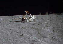 The Lunar Roving Vehicle LRV gets a speed workout by astronaut John W Young in the Grand Prix run during the first Apollo  extravehicular activity EVA at the Descartes landing site May