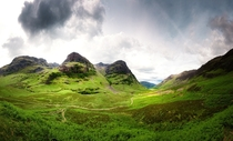 The lush green of Glen Coe in the Highlands of Scotland