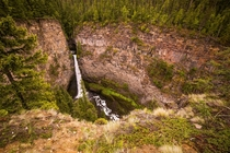 The m tall Spahats Falls in Clearwater BC are quite the sight and such a short walk from the parking area