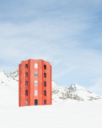 The m wooden Julier Theatre Tower on the top of the Julier Pass in Switzerland Walter Bieler Giovanni Netzer