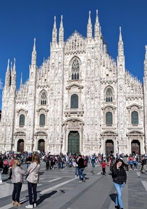 The magnificent Gothic architecture of Duomo Milano on a fine spring day