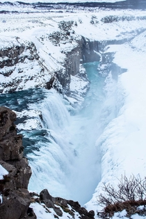 The magnificent Gullfoss waterfall in springtime