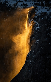 The Magnificent Horsetail Fall or Firefall Yosemite CA