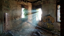 The main hall of an old italian sanitarium after  years of abandonment