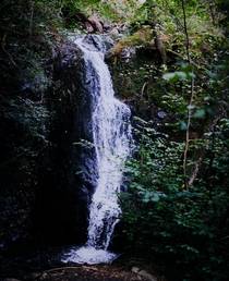 The main waterfall of the Tom Gill falls found in Glen Mary ravine Lake District Cumbria UK