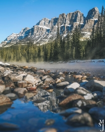 The majestic Castle Mountain photographed from Bow River in Alberta Canada  IG mysuitcasejourneys