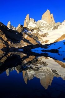 The majestic Fitz Roy twice in one picture Patagonia Argentina