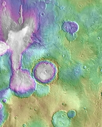 The map of Heart Lake valley system consisting of valleys amp a chain of lakes on Mars It extends about  miles Credit NASA Mars Reconnaissance Orbiter