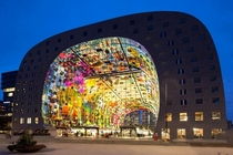 The Markthal is a residential and office building with a market hall underneath located in Rotterdam The building was opened on October   by Queen Mxima of the Netherlands Designed by architectural firm MVRDV