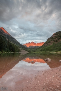 The Maroon Bells during an Alpenglow sunrise
