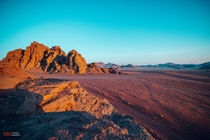 The Martian landscape of Wadi Rum Desert Jordan