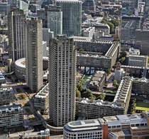 The massive brutalist structures of Barbican Centre City of London London United Kingdom