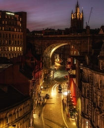 The massive th century railway arch over Dean Street Newcastle upon Tyne North East England UK