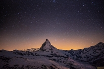 The Matterhorn at  AM As seen from the top of the Gornergrat railway at  Meters  ft