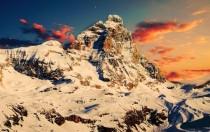 The Matterhorn at sunset viewed from Breuil-Cervinia Italy-Switzerland border