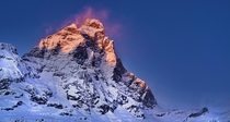 The Matterhorn  Cervino legendary mountain is the Swiss  Italian Alps