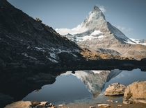 The Matterhorn in Zermatt reflected in the Riffellake