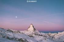 The Matterhorn just before sunrise Switzerland
