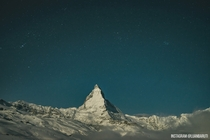 The Matterhorn lit by moon light The fog had cleared for just a few minutes allowing me to take a photo