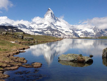 The Matterhorn over Lake Stellisee from my hike in Zermatt Switzerland