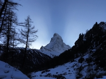 The Matterhorn splitting the sunrise