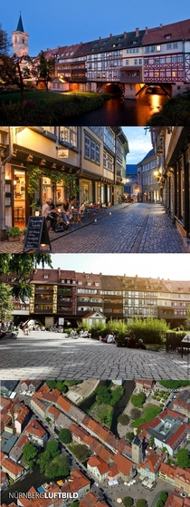 The medieval Krmerbrcke is a medieval arch-bridge in the city of Erfurt which is lined with a cobblestoned street half-timbered houses amp lots of tiny shops