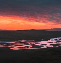 The midnight sun in July in Iceland creating such a magical moment where the glacier streams look like they are on fire  - more of my shots from the nordics at insta glacionaut