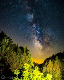 The Milky Way amongst a valley of trees along the Delaware Water Gap PA