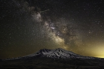 The Milky Way and a Meteor over Mount St Helens WA
