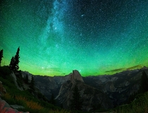 The Milky Way and Andromeda above Yosemites Valley and Half Dome