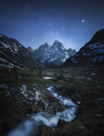 The Milky Way and Jupiter rising over the Tetons on a moonlit night