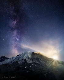 The Milky Way and Moonset at Mount Rainier National Park WA