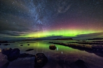 The Milky Way and Northern Lights by Stian Rekdal Vigra Island Norway