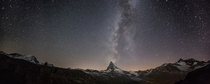 The Milky Way and the Perseids over the Matterhorn Switzerland  Photographed by Tobias Knoch