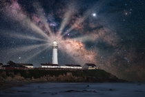 The Milky Way behind Pigeon Point Lighthouse on the California Coast