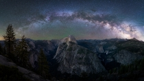 The Milky Way Galaxy arching over the Yosemite National Park in California this summer