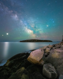 The Milky Way Jupiter and Saturn from the Maine coast near Rockland ME